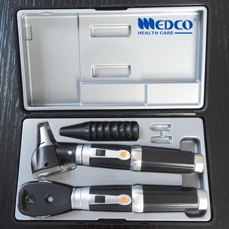 Livraison gratuite Allemagne qualité Ensemble Fiber Optique Otoscope De Diagnostic Médical et ophtalmoscope direct otoscopio & oftalmoscopio
