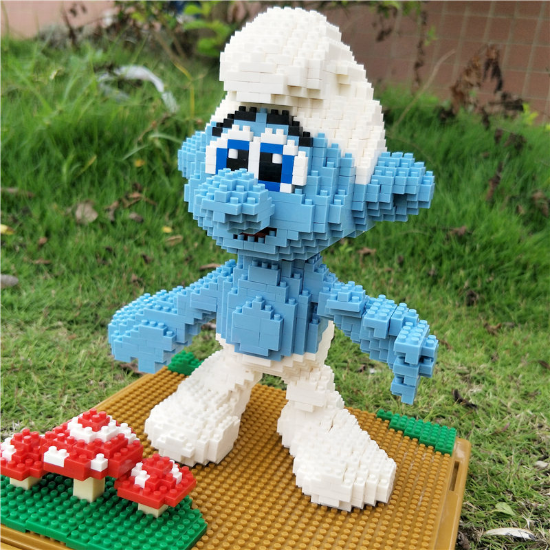 Big Size Diamond Building Blocks Bricks Cute Blue Elves Action Figure Anime Assembly Pixels Figures Kawaii Models Bricks Kit
