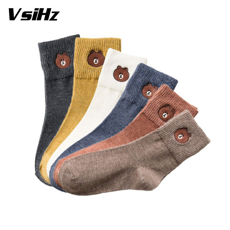 1pair High Quality Winter Vintage Cartoon bear   Socks   for Women Thicken Warm Female Fashion Patchwork Retro thermal Cotton   Socks