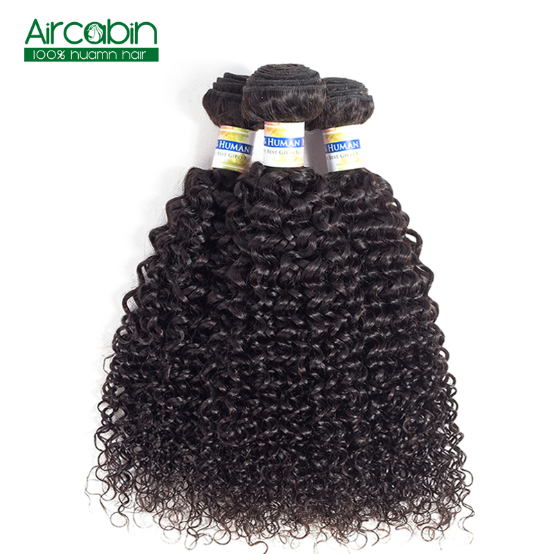 Kinky Curly Bundles Brazilian Human Hair 3 Bundles Double Wefts AirCabin Remy Hair Weave Extensions Natural Black