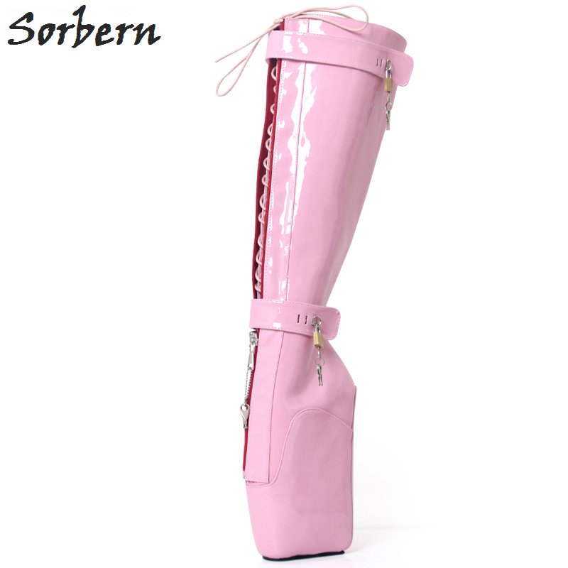 Sorbern Sexy Pink Shiny No Heel Platform Bootie Women Extreme Hi Heel Keys Locking Zip Beginner Ballet Wedge Boots Fetish 2018