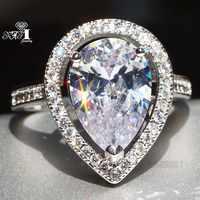YaYI Schmuck Mode Prinzessin Cut 5,4 CT Weiß Zirkon Silber Farbe Verlobungsringe hochzeit Herz Partei Schellt Geschenke
