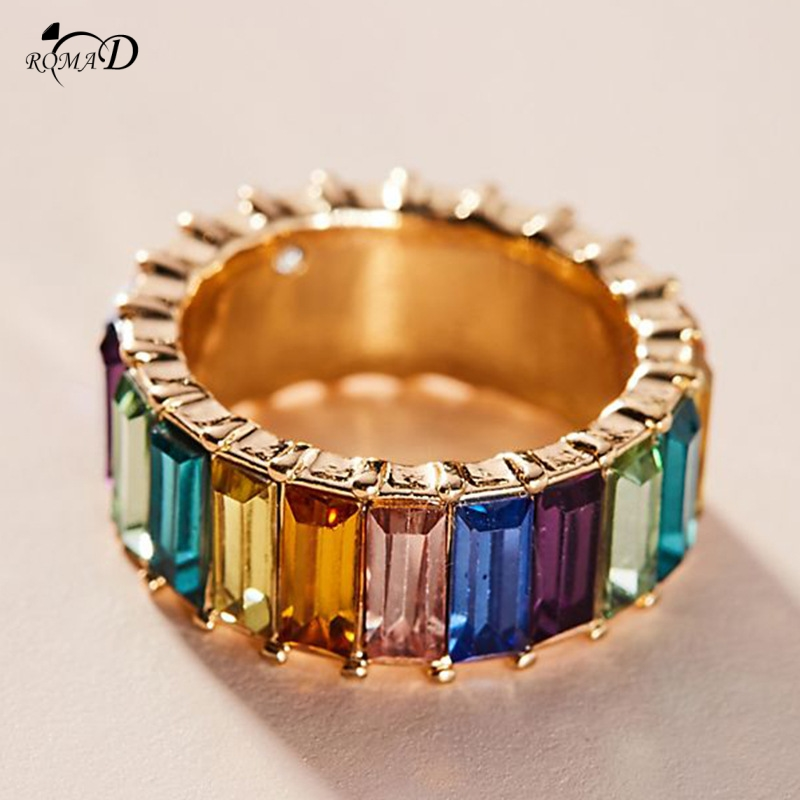Ring rings Multicolor Stone Rings For Women Jewelry Wedding Engagement Gift Luxury Inlaid Stone Rings A30 in Rings from Jewelry Accessories