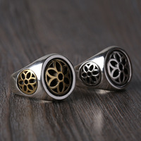 S925 sterling silver jewelry Vintage Mens Ring Gold Silver personality Sakura wide ring finger
