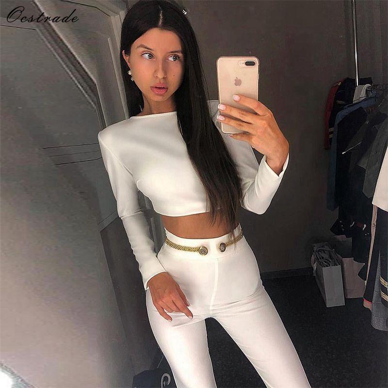 Ocstrade Новая мода 2019 Для женщин комплект Костюмы белый Высокое качество Двойка повязка топ и брюки 2 шт комплект с ремешками