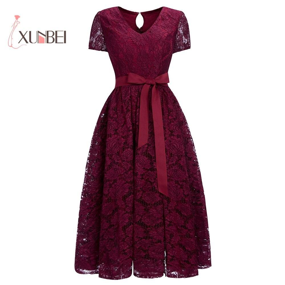 Elegant Ankle- Length V Neck Burgundy Lace Short   Evening     Dresses   2019 Detachable Sash Formal Prom Party   Dresses