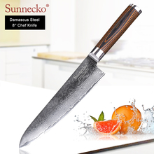 xituo 2018 new damascus knife 8 inch professional chef knife 67 layer japanese damascus steel vg 10 blade kitchen knives forging SUNNECKO 8 inch chef knife Damascus Steel Japanese VG10 Sharp Blade kitchen knives Pakka Wood Handle Meat Vegetable Cutter Knife
