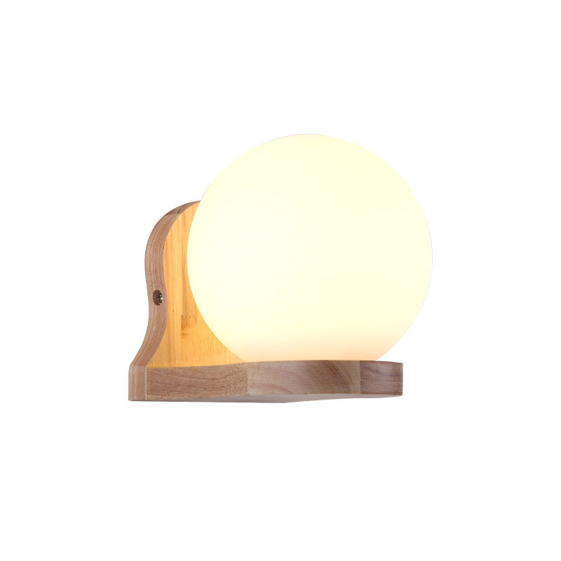 Modern Simple Crative Wood Wall Sconce Living Room Aisle Corridor Hotel Wall Lamps Nordic Bedroom Bedside Glass Ball Wall Light hotel wall light aisle study room mirror light bedroom hotel wall sconces personality restaurant corridor wall lamps bathroom