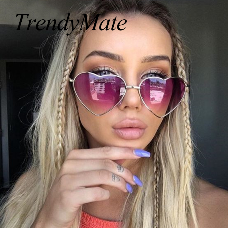 Love Shape Heart Sunglasses Women Brand Design Retro Alloy Frame Sun Glasses Vintage Mirror Sunglass Oculos De Sol Feminino M564
