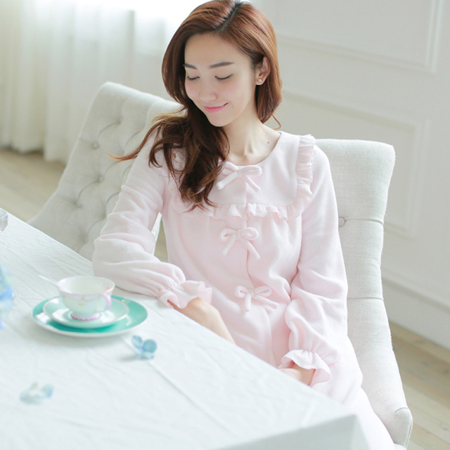 female polar fleece fabric thickening long-sleeve sleepwear royal princess  nightgown full long design robe 46d91d331