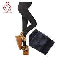 Plus Velvet Thickening Winter Autumn Maternity Leggings Pants For Pregnant Women Warm High Waist Pregnancy Care