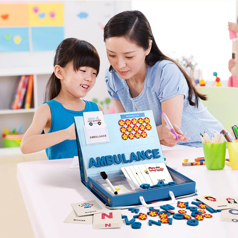 Toys for Children Alphabet Letters Figure Spelling Games Cards English Word Puzzle Educational Playset Fun Early Learning Toys