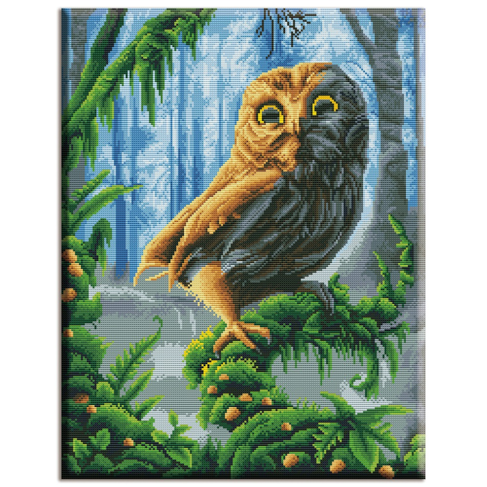Diy,Needlework,kits,full Embroidery,Home Decor,40x50cm,owl,Animals And Forests ,white Canvas,Dmc,Cross-stitch