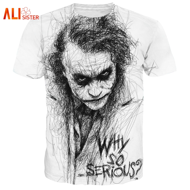 Alisister Plus Size 3XL-5XL Cool Joker   T     Shirt   Summer Why So Serious Harajuku   T  -  shirt   Crew Neck Casual Tee   Shirt   Homme De Marque