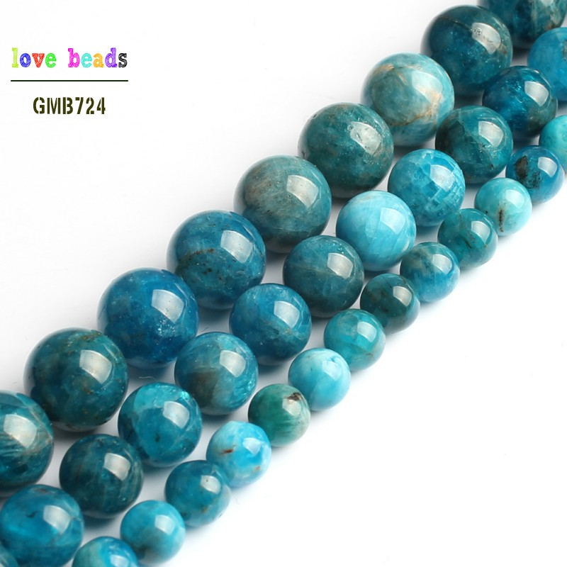 A+ Natural Blue Apatite Bead Round Loose Stone Beads For Jewelry Making Diy Bracelet 15'' Strand 6mm 8mm 10mm