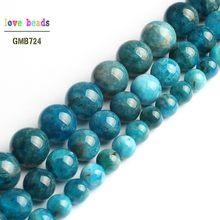 A + naturalny niebieski apatyt koralik okrągły luźne kamienne paciorki do tworzenia biżuterii Diy bransoletka 15 ''Strand 6mm 8mm 10mm