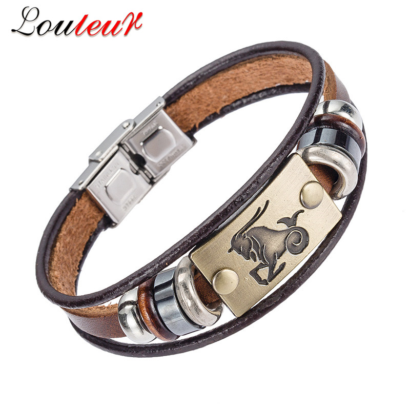 LOULEUR 2018 Hot Fashion 12 Zodiac Signs Bracelet for Men Women Stainless Steel Clasps Genuine Leather Bracelet Men Jewelry
