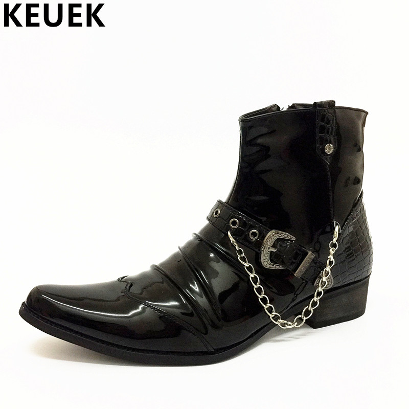 Men Mid-Calf boots Pointed Toe Motorcycle boots Spring Autumn British style Fashion Chain Short boots Men leather boots 022
