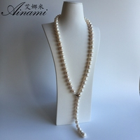 Ainami 100 Natural Pearl Long Necklace 12mm Big Pearls Necklace 80cm Pearl Necklace Jewelry For