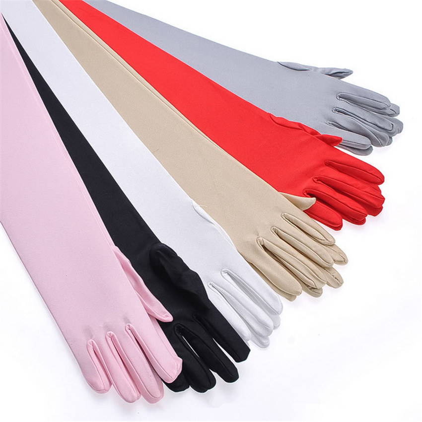 53cm Extra Long Stretch Elbow Gloves Elegant Red Evening Party Gloves Female Summer Drive Sunscreen Anti-UV Gloves Handschoenen