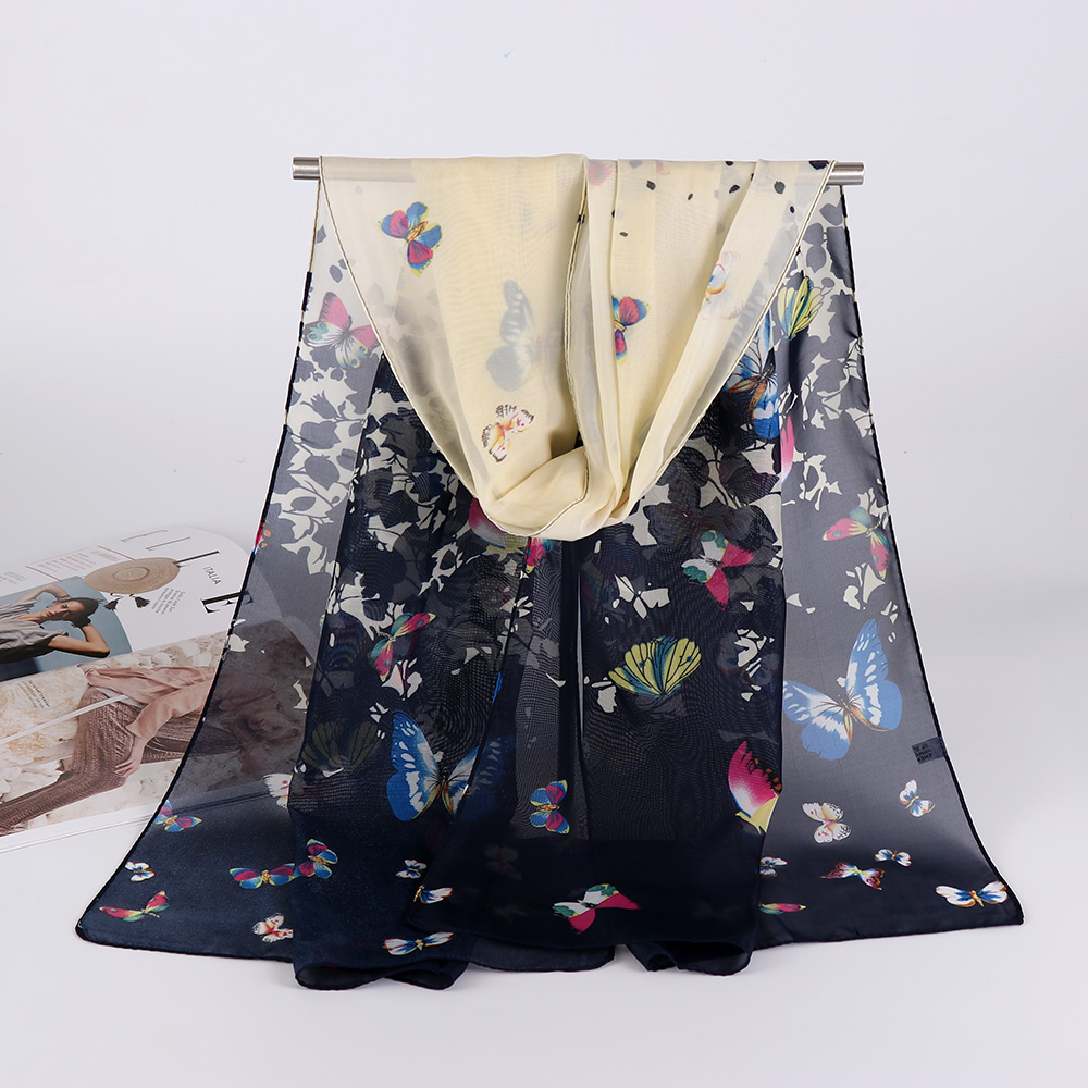 Elegant All-match 160*50cm Women Long Soft Shawl Floral Printed Chiffon Silk   Scarf     Wraps     Scarves   Pashminas Winter Big Size Cape