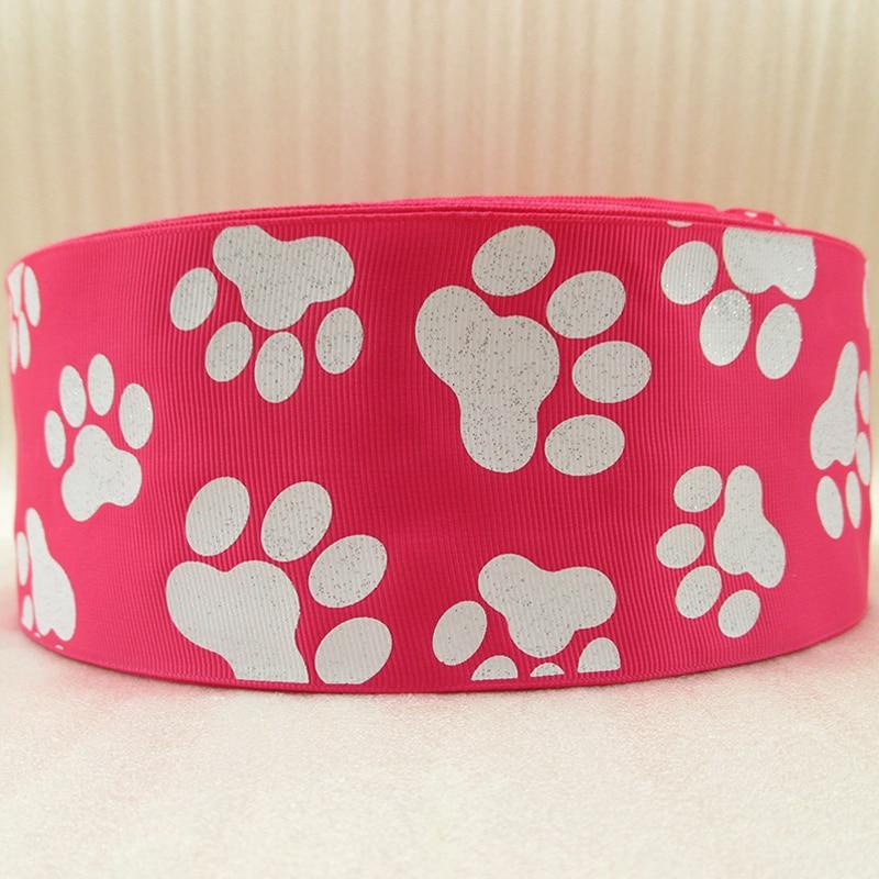 """3 """"(75mm) glitter hund füße footprint band gedruckt polyester band 50 yards, hochzeitsgeschenk wrap, 50Y42810-in Bänder aus Heim und Garten bei  Gruppe 2"""