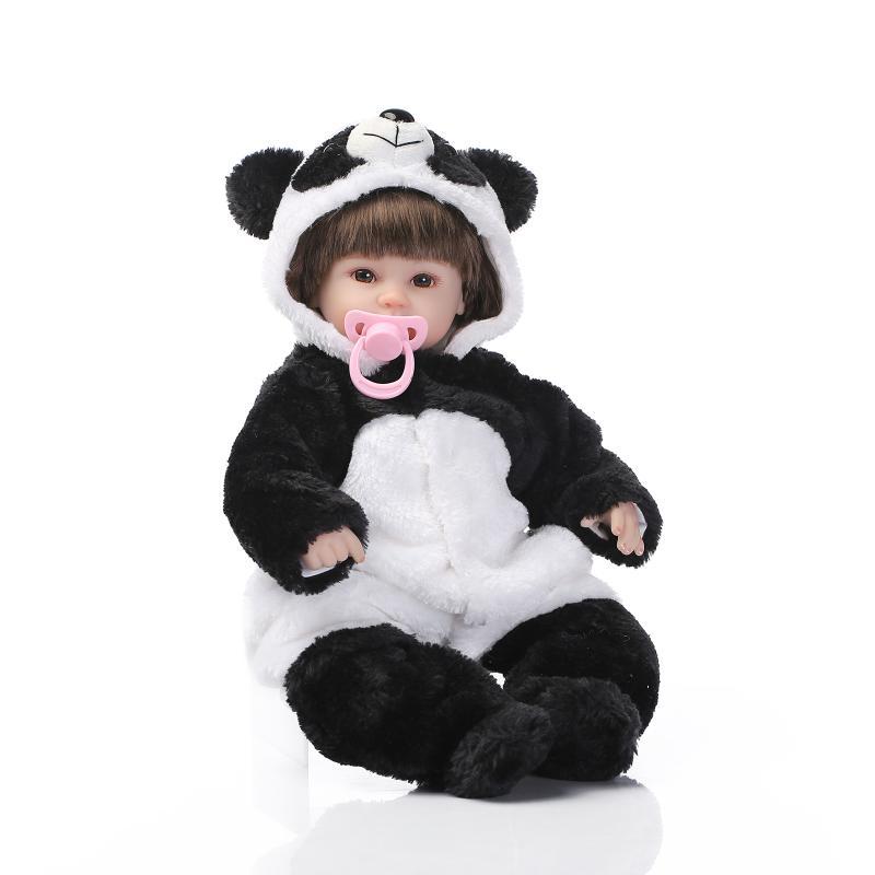 Nicery 18 pouces 45 cm Bebe poupée Reborn souple Silicone garçon fille jouet Reborn bébé poupée cadeau pour enfants noir blanc Panda