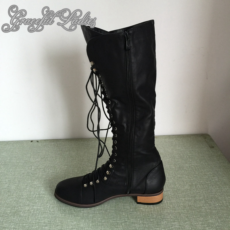 Black Square Low Heel Soft Faux Leather Women Boots Knee -3300