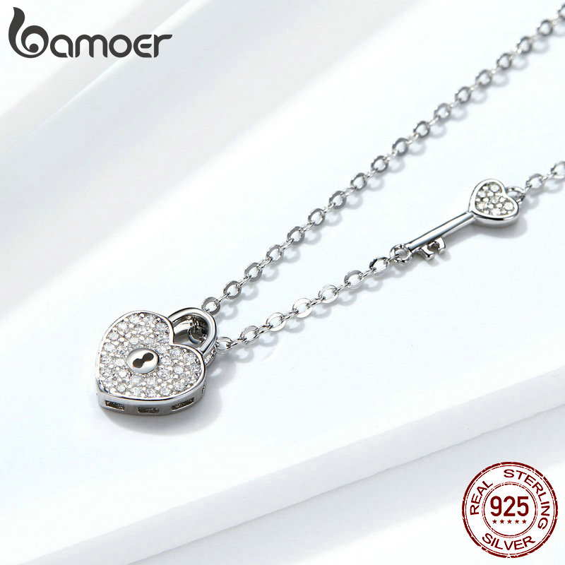 BAMOER Pure 925 Sterling Silver Clear CZ Heart Lock and Key Link Chain Choker Necklace for BAMOER Pure 925 Sterling Silver Clear CZ Heart Lock and Key Link Chain Choker Necklace for Women Luxury Statement Jewelry SCN315