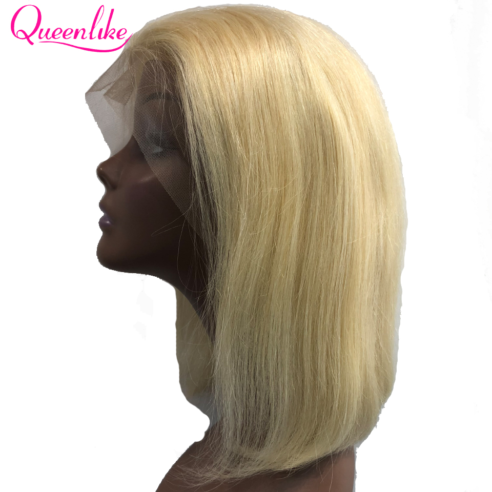 Blonde Short Bob Lace Front Wig Queenlike For Black Women Brazilian Straight Hair Color 613 Lace Front Human Hair Wigs