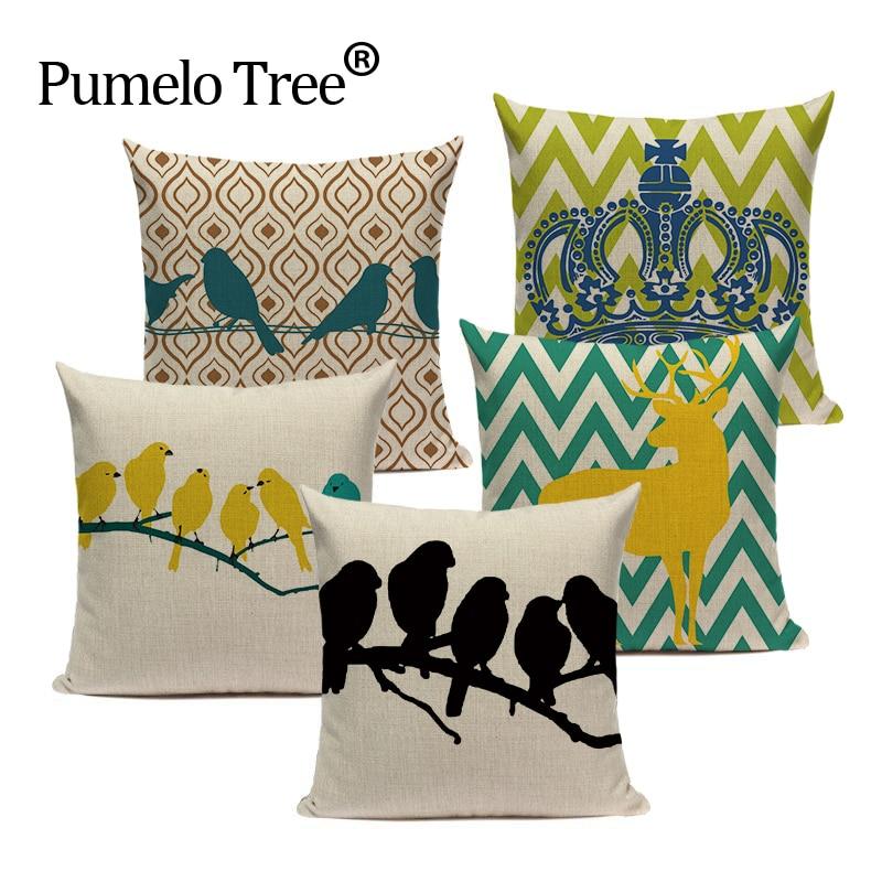 Large Cushion Cover Tropical style Linen A Bird On A Branch Almofadas Fundas 45Cmx45Cm Square Home Car 3D printed Pillow Cover