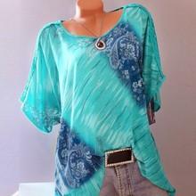 Autumn 5XL Plus Size Women Summer Short Sleeve V Neck Floral Print Loose Blouses Casual Lace Fashion Tops Shirts Blouses