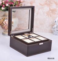 Luxe mode 6-slot hout structuur lederen horloge sieraden horloge collectie box case bruin 263B