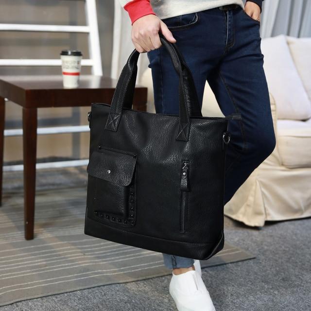 3aefec0dce Uomini di Stile coreano Borse Uomo Borsa Grande Shopping Bag Per I Ragazzi  Cartelle Nero sacchetto
