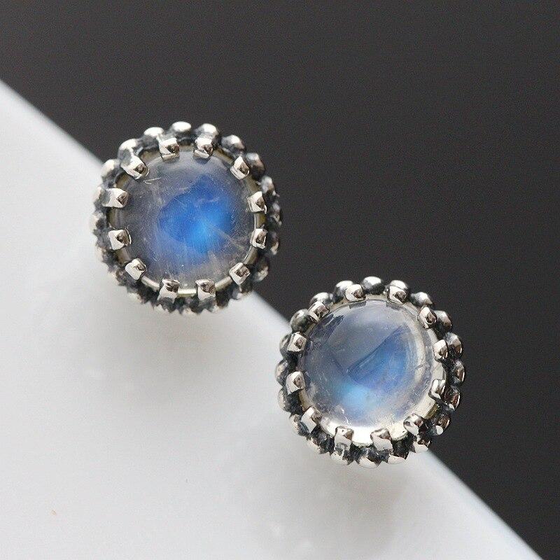 Ecoworld Ge wholesale silver natural blue MOONSTONE 925 Sterling Silver Earrings Vintage Silver Earrings Ms.