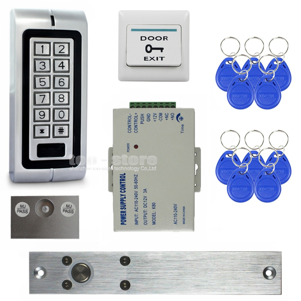 DIYSECUR Electric Drop Bolt Lock 125KHz RFID Waterproof Metal Password Keypad ID Card Reader Door Access Control System Kit W1 raykube glass door access control kit electric bolt lock touch metal rfid reader access control keypad frameless glass door