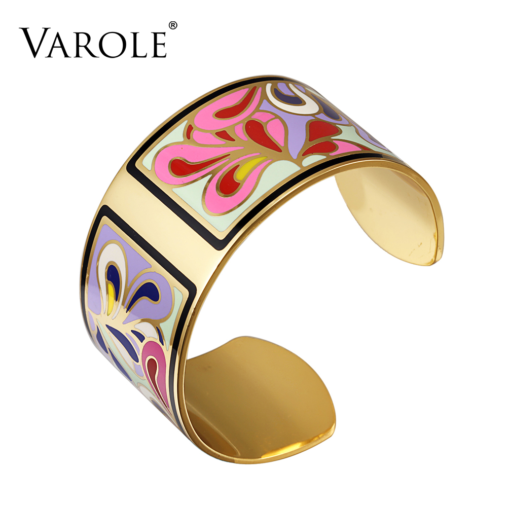 VAROLE Top Quality 100% Copper Opening Color Enamel Bangle Love Bracelets & Bangles Pulseiras Women Fashion Jewelry pulsera
