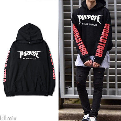 Mens Sweatshirt Justin Bieber Purpose The World Tour Long Sleeve Autumn Spring Casual Hoodies Top Boy Blouse Tracksuits Coat Hot