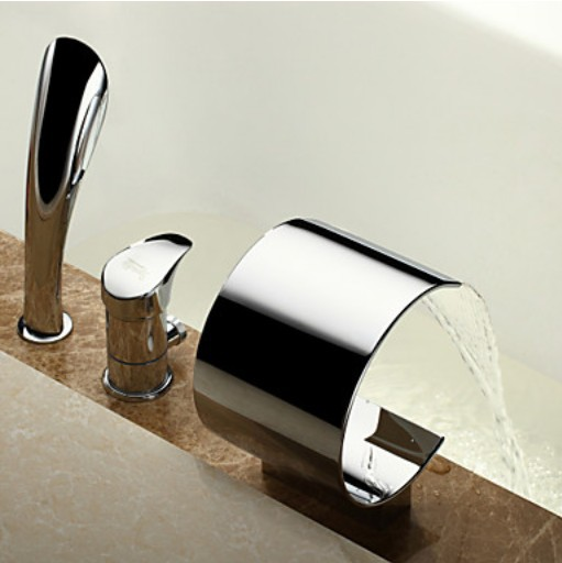Waterfall Spout Bathtub 3pcs Faucet One Knob Mixer Tap with Handheld Shower Head