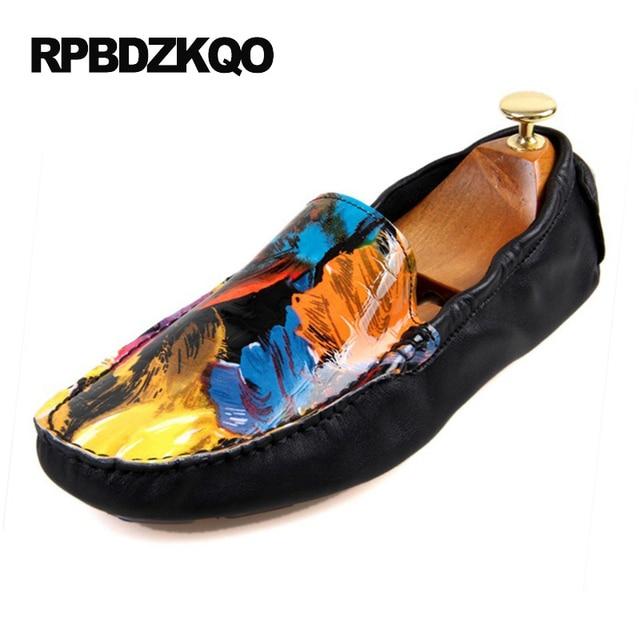 ดอกไม้พิมพ์ขับรถภาพวาดสีเขียว Loafers สีเหลืองของแท้หนัง Vintage รองเท้า Skull สีขาวรองเท้าแตะสีดำสีส้มแบน