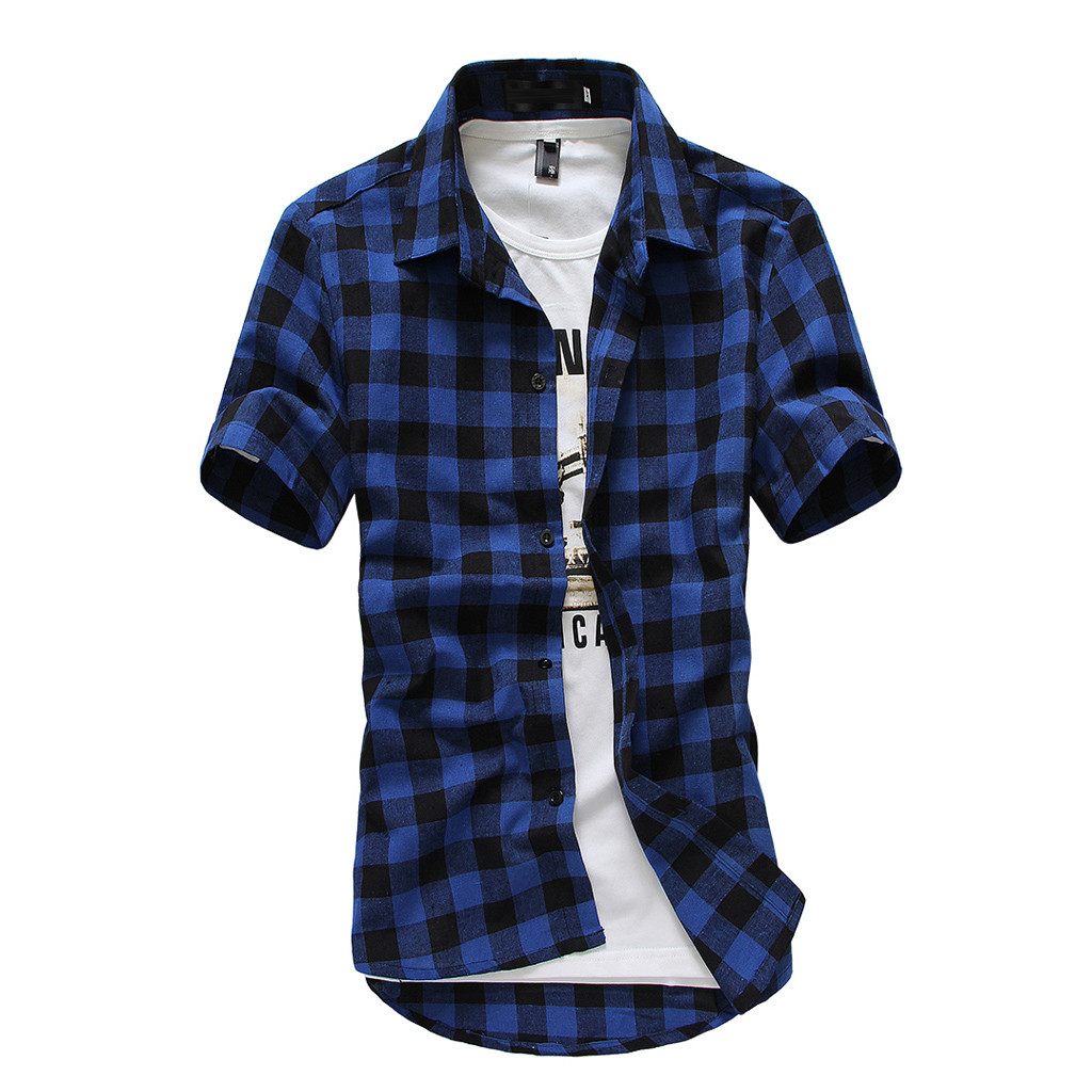 Summer Lattice Plaid Painting Male Blouse Top Men's Short Sleeve Shirt Large Size Comfortable Casual Men Shirts camisa masculin Рубашка