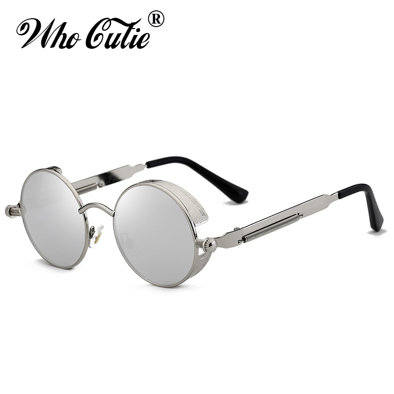 WHO CUTIE 2018 Round Shades Gothic Steampunk Sunglasses Men Women Brand Designer Rose Gold Pink Mirror Punk Male Sun Glasses 418 3