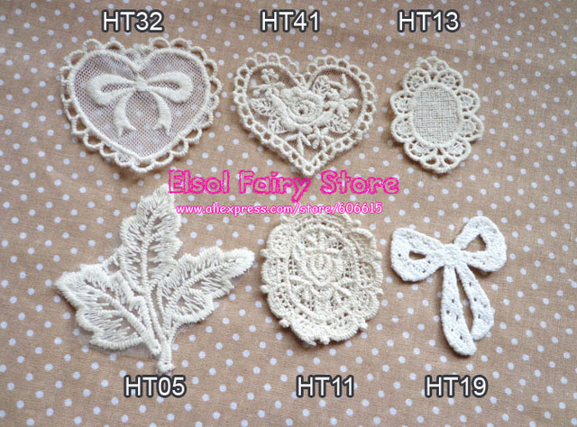 Wholesale Cloth Paste Fabric Paste, DIY Decoration Flower Lace Badge, Lace Patch Free shipping 30pcs/lot Mix design acceptable