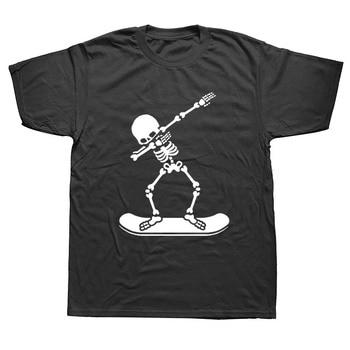 Dabbing Skeleton Snowboardings Dab Funny T Shirts Men Summer Cotton Harajuku Short Sleeve O Neck Streetwear Black T-shirt