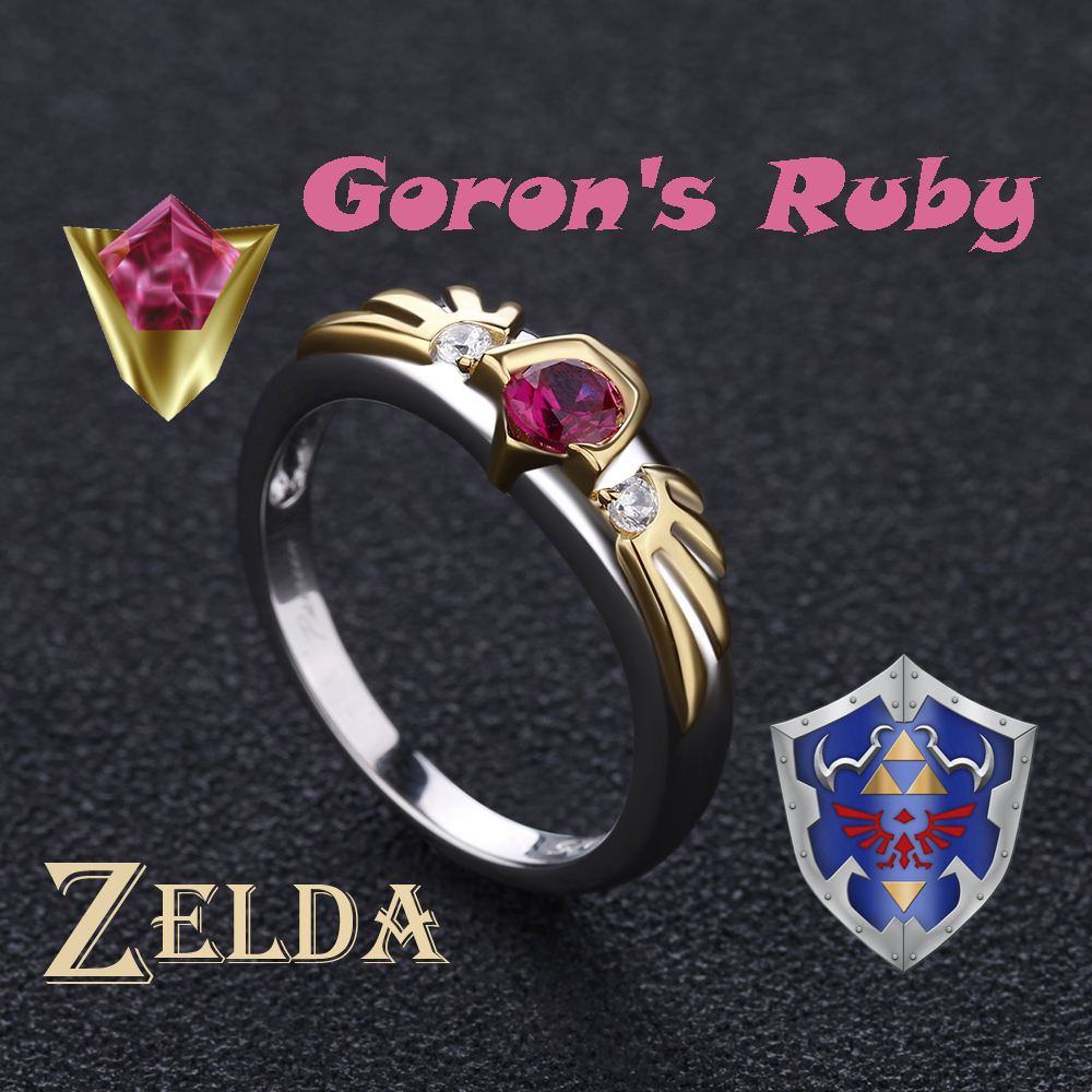 The Legend of Zelda Ocarina of Time Link Spiritual Stones Gorons Ruby Sterling 925 Silver Valentine