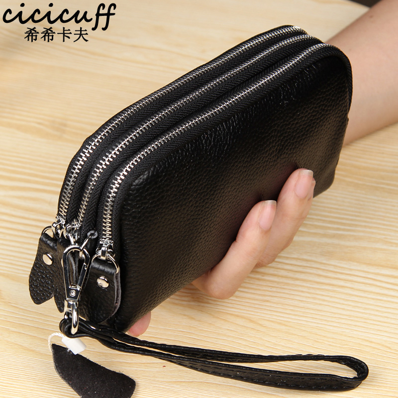 CICICUFF Genuine Leather Women Wallet Large Capacity Three Layers Zipper Cellphone Pouch Coin Purse Female Wrist Bag Clutch New(China)