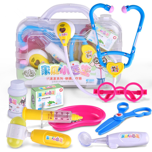 f4004b3d5cda Kids Toys Doctor Set Baby Suitcases Medical kit Cosplay Dentist Nurse  Simulation Medicine Box with Doll Costume Stethoscope Gift