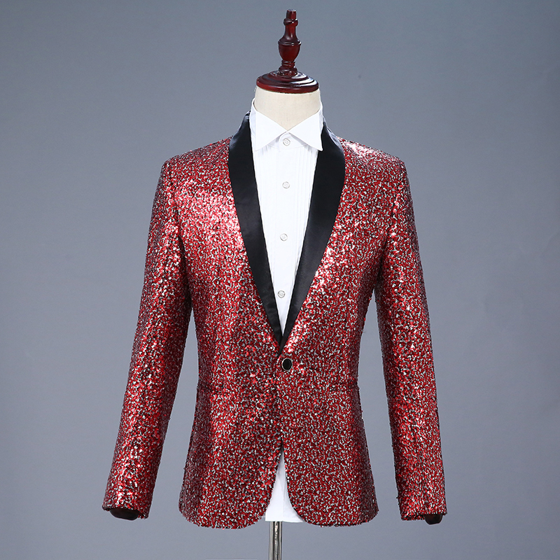 <font><b>Men's</b></font> Shiny <font><b>Sequins</b></font> Suit <font><b>Jacket</b></font> <font><b>Blazer</b></font> One Button Tuxedo For Party,wedding,banquet,prom Wine Red Blue <font><b>Blazers</b></font> image