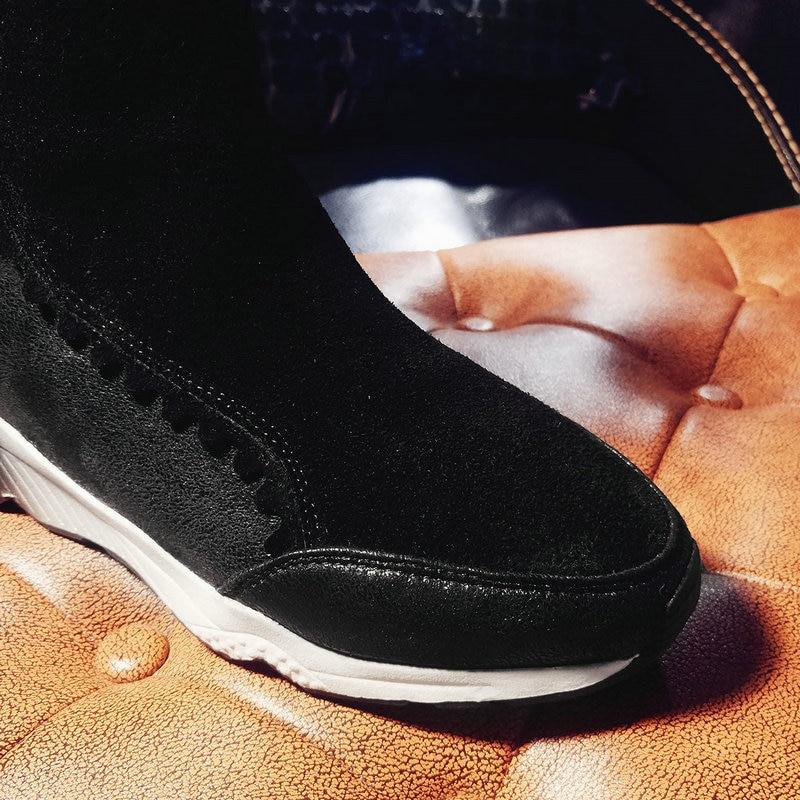 En 2018 Femme Casual Vache 41 Cuir Filles Peluche Dames Hiver Noir Chaussures Neige 40 42 marron Bottes Nouvelle Cheville Taille Chaud ftqrnXwt