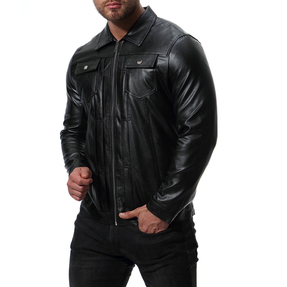 good quality pocket men 39 s winter leather jacket 2018 new long sleeve leather coat men slim fit imported jackets in Faux Leather Coats from Men 39 s Clothing